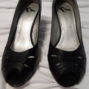 "Report ""Venezia"" Black Leather Peep Toe Wedge Heel"